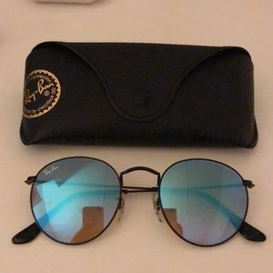Ray ban blue reflective round sunglasses
